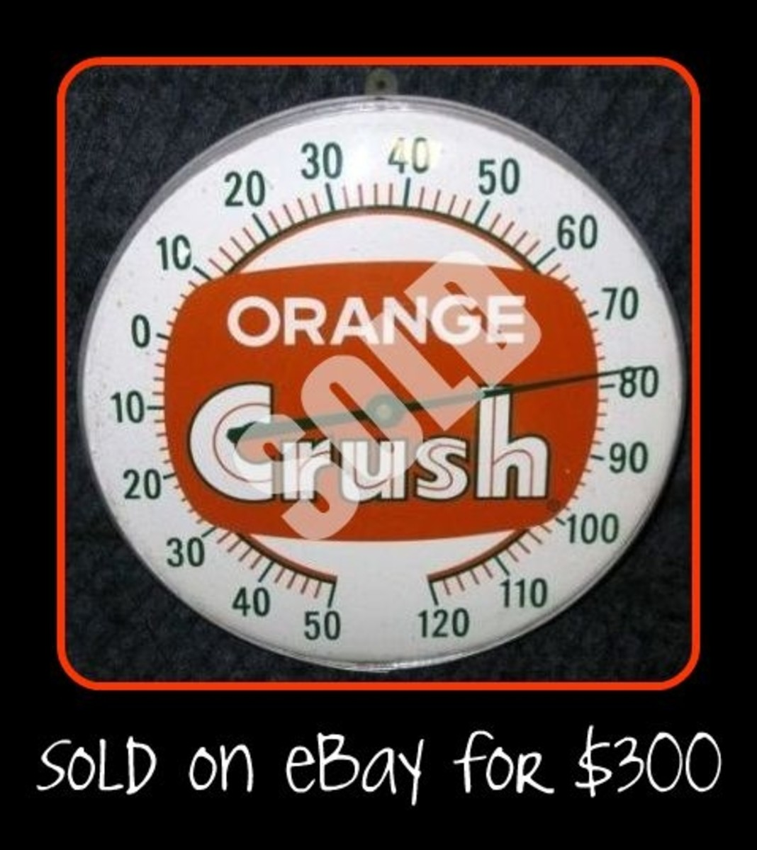 Vintage Orange Crush Thermometers