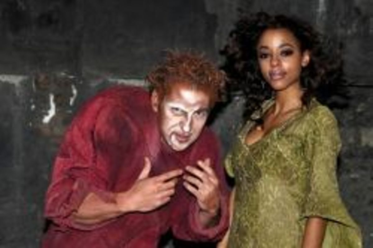 Gene Thomas as Quasimodo with Sandrine as Esmeralda