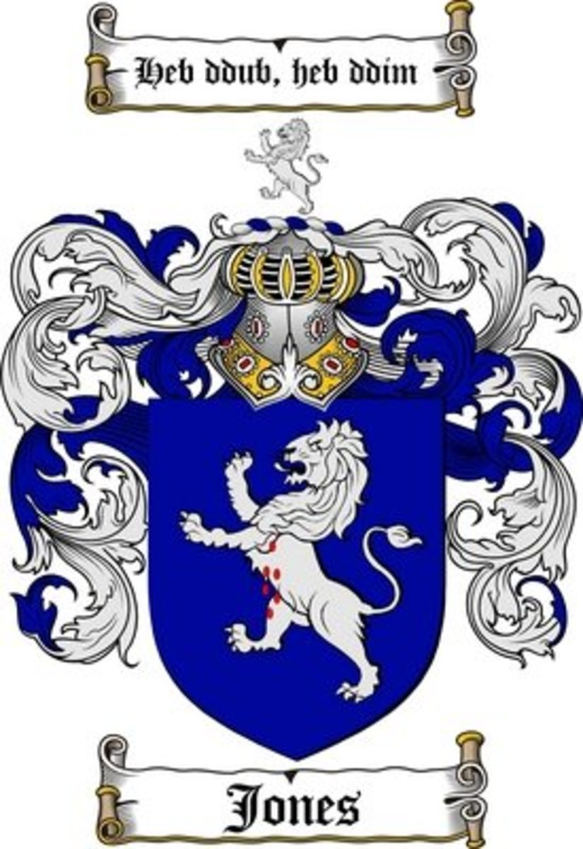Family names: The history of Jones family Crest