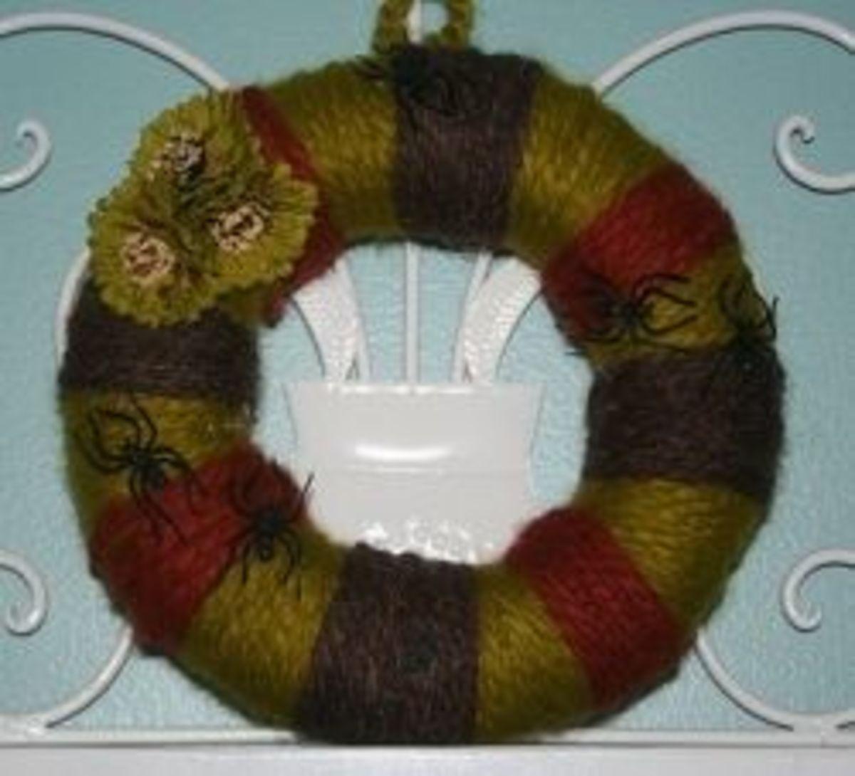 Spiders on yarn wreath