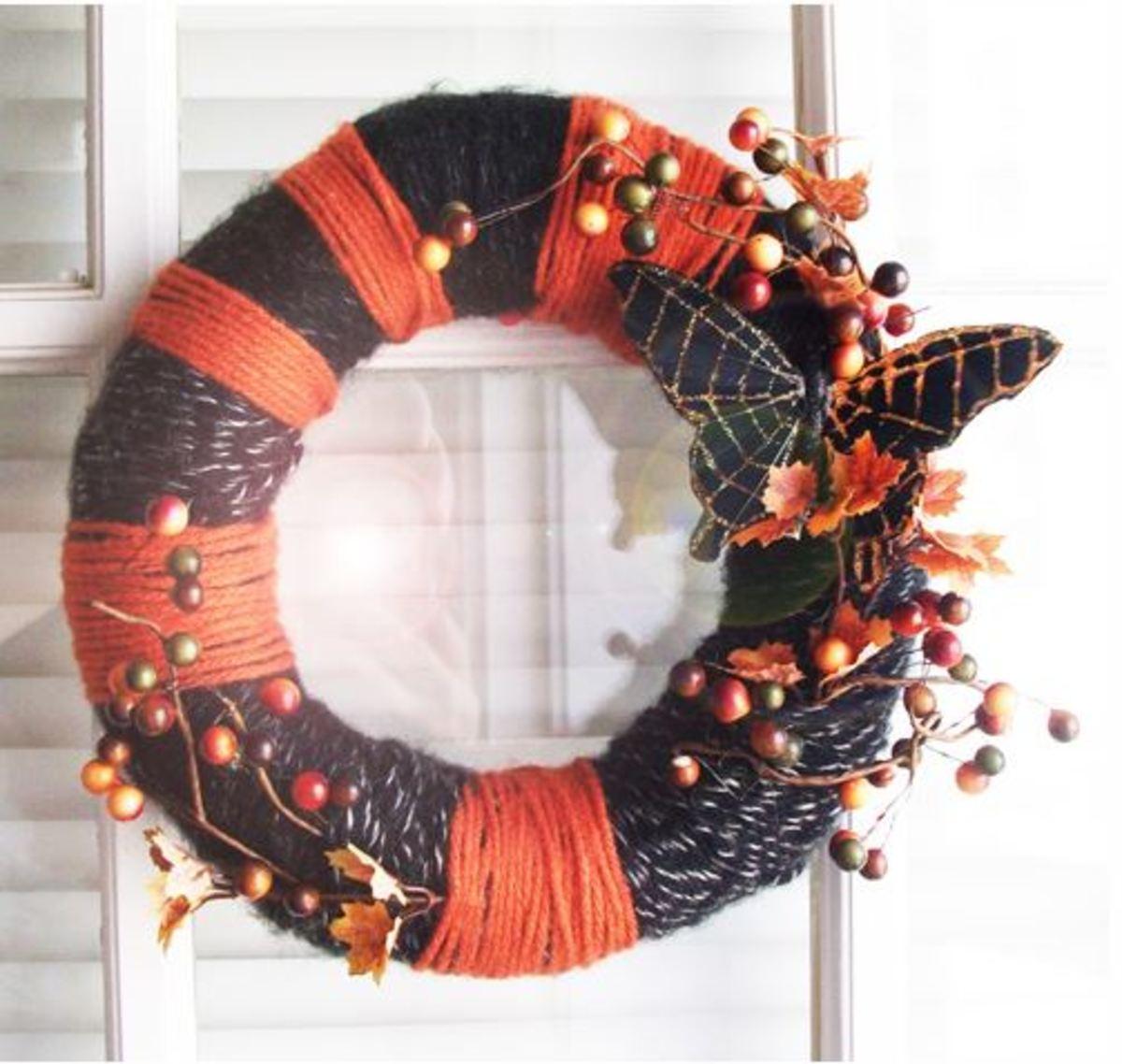 Butterfly wrapped Halloween wreath