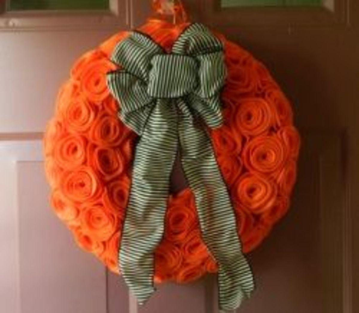 Orange Felt Rosette Wreath
