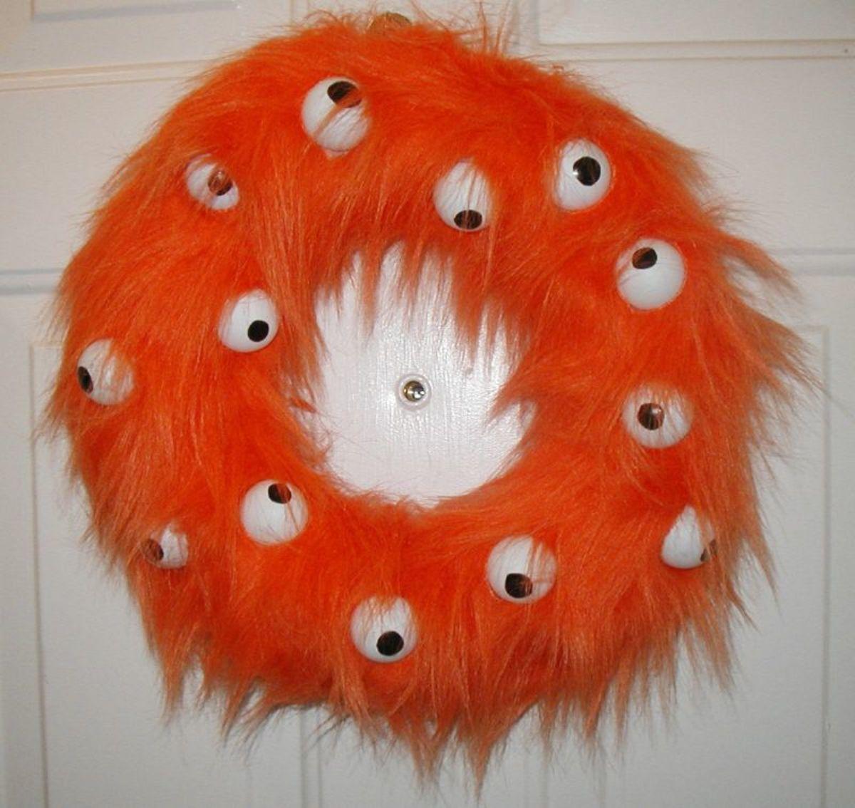 Halloween Fur Monster Wreath
