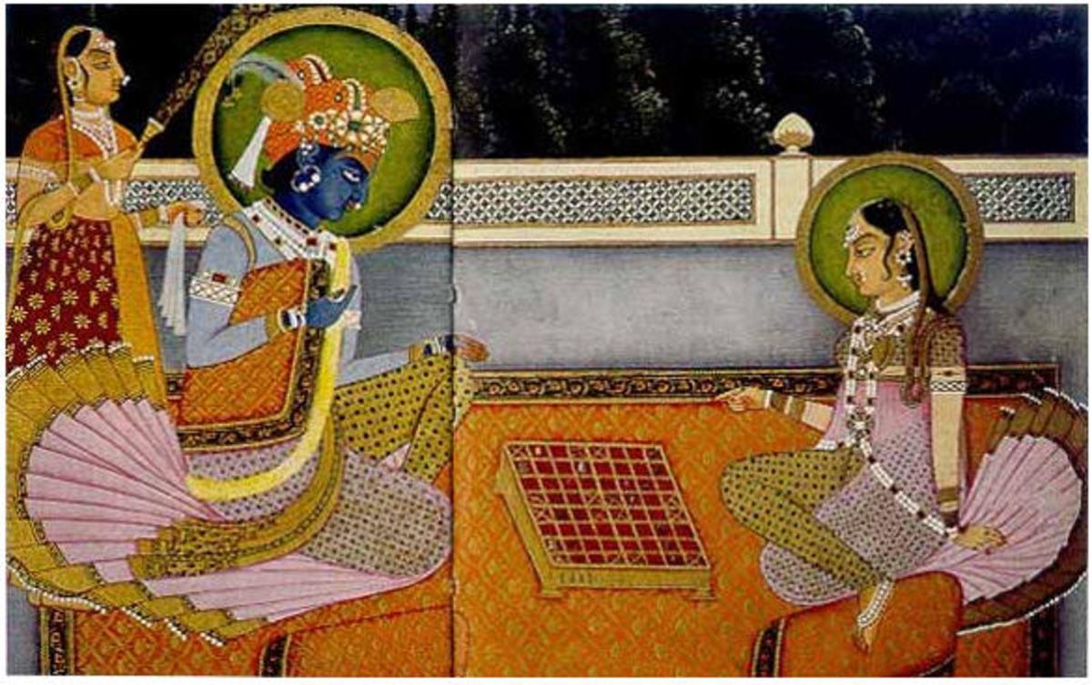 Krishna and Radha playing on an Ashtapada Board