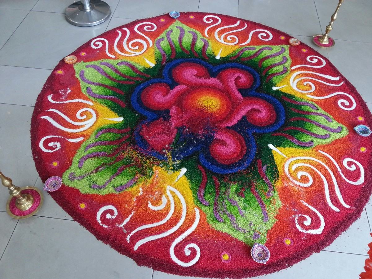 Example of Kolam - a common feature during Diwali