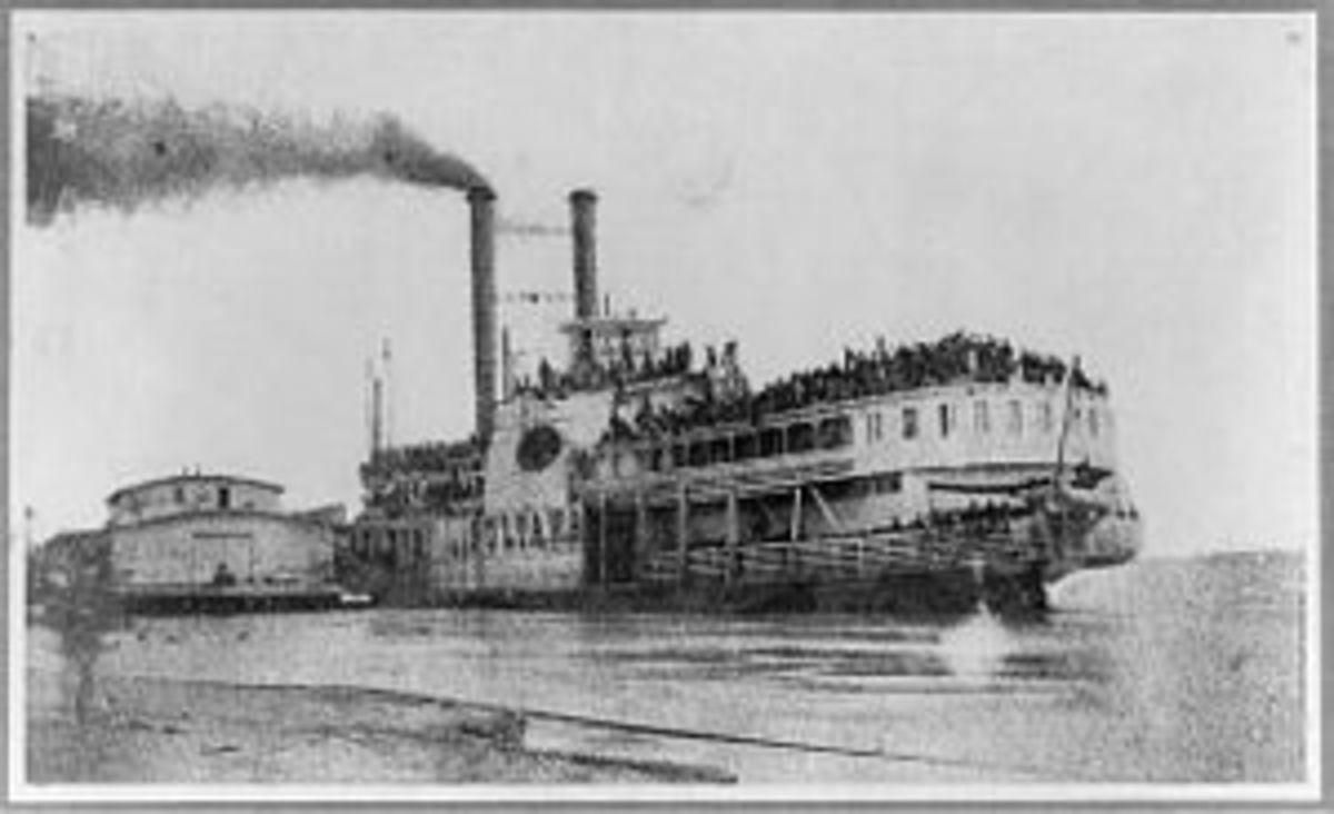 Actual photo of the SS Sultana boat taken near Helena, Arkansas around April 26, 1865