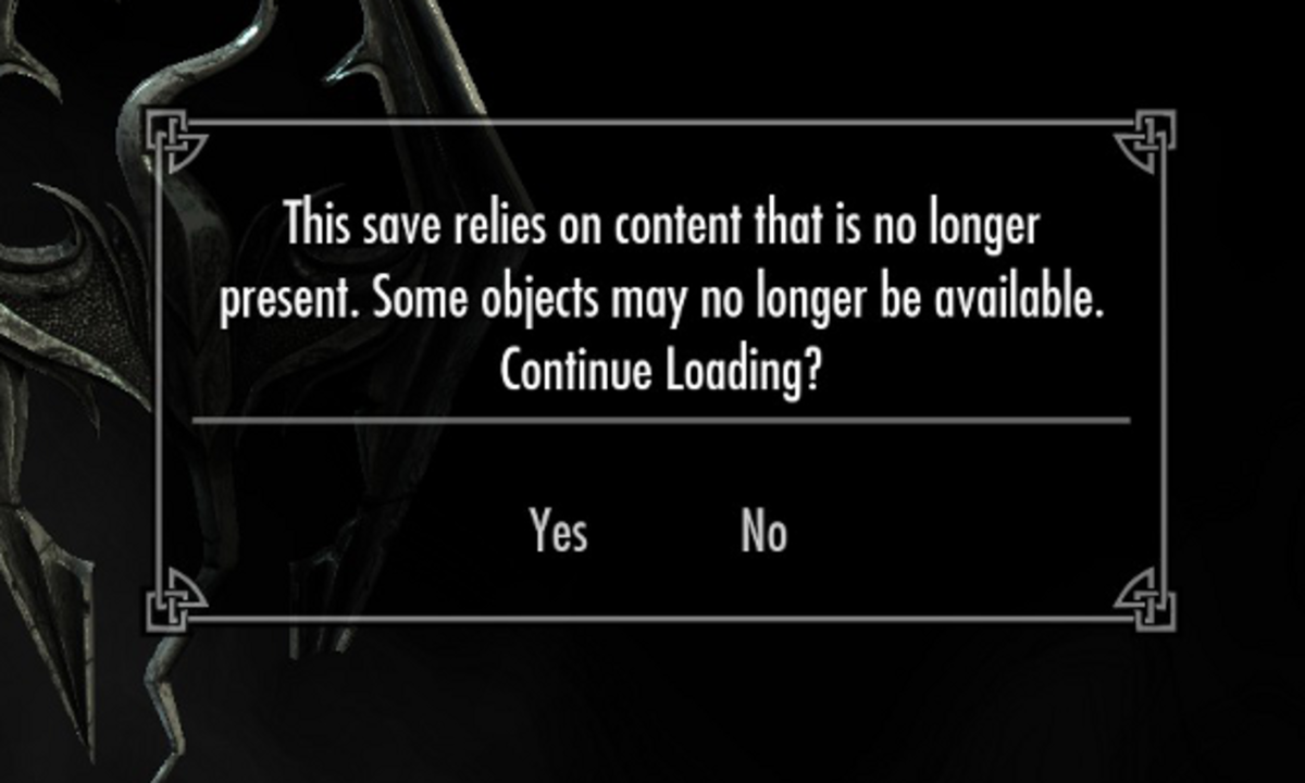 Skyrim will let you know if you're missing something that was included in a save file.