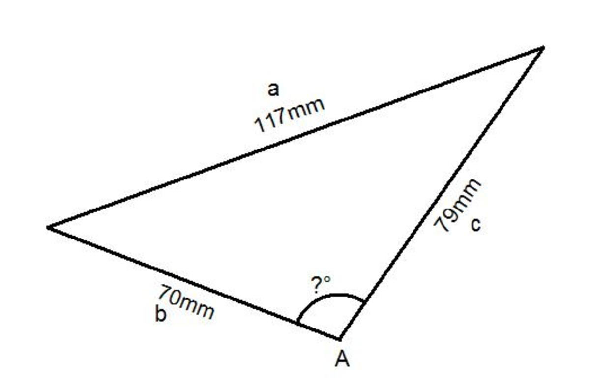 applying-the-cosine-rule-formula-to-work-out-a-missing-angle-given-3-side-lengths-of-a-triangle
