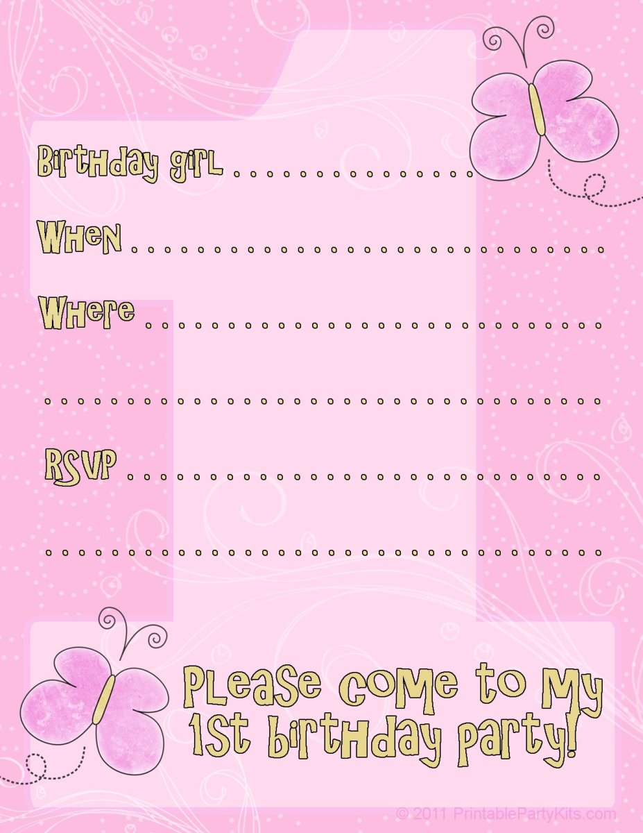 butterfly first birthday party invitations design