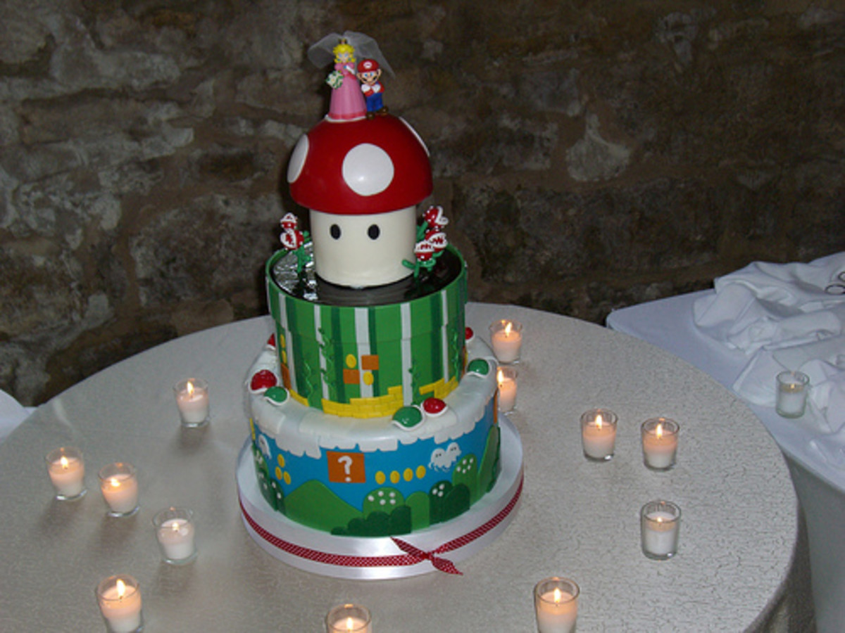 This is a Mario wedding cake made out of fondant.