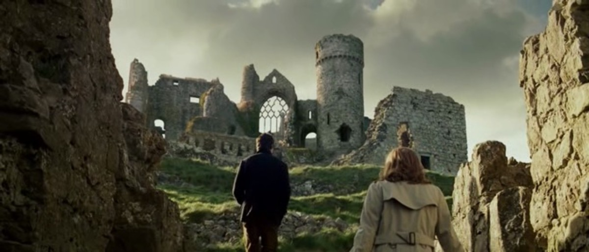 The ruined Ballycarbery Castle in the movie (computer-enhanced)