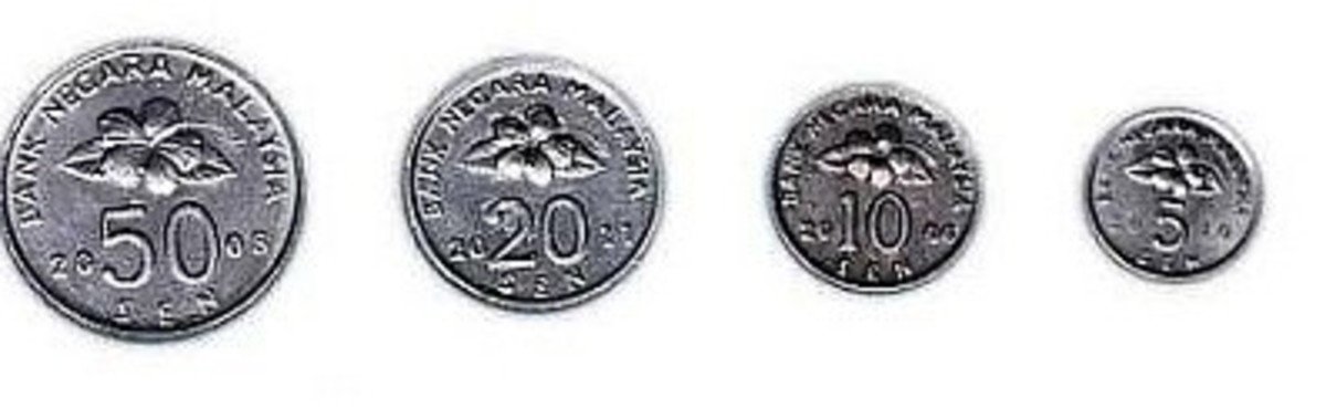 Existing Malaysian coins which will be replaced by the new coin 2012 series
