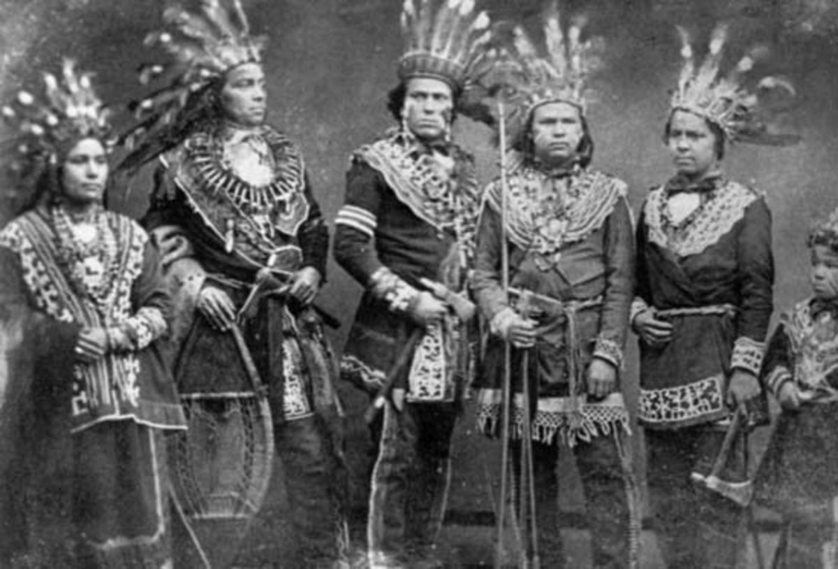 Ojibwes in traditional attire.