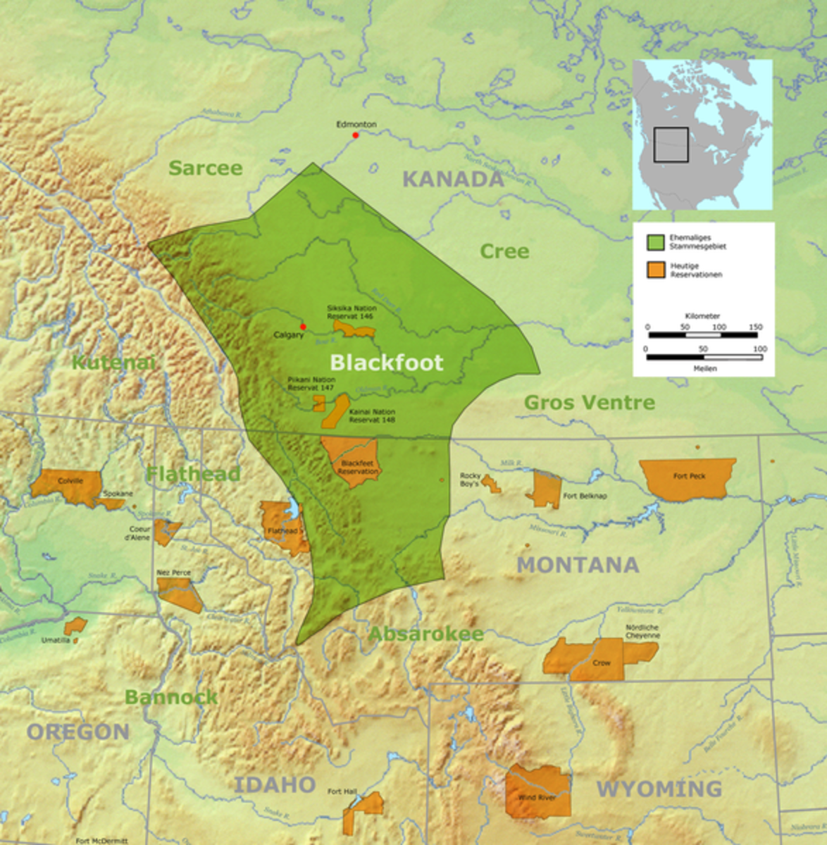 Blackfeet or Blackfoot Nation in USA and Canada.