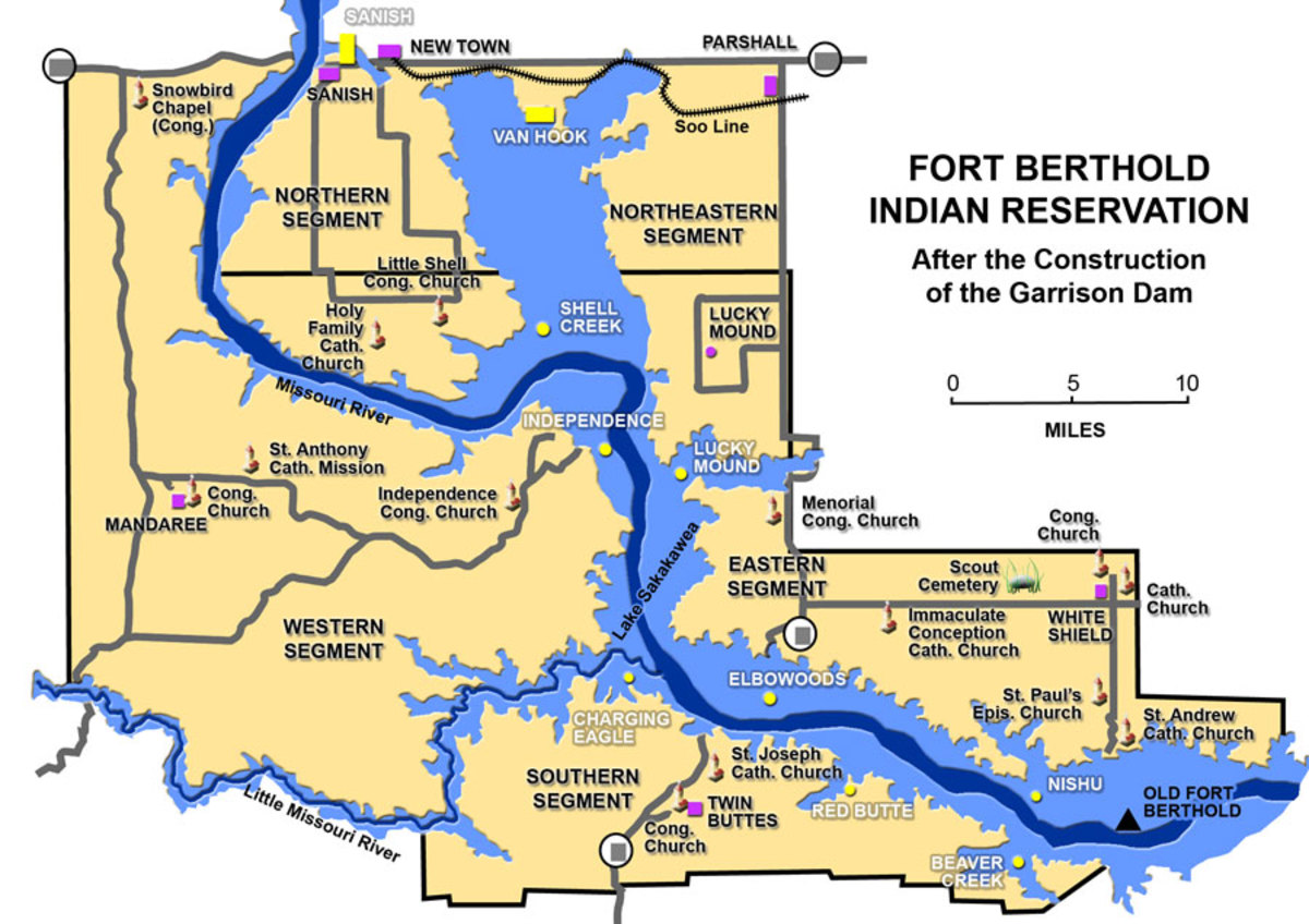 Forth Berthold MHA Reservation. The large body of water is Lake Sakakawea.