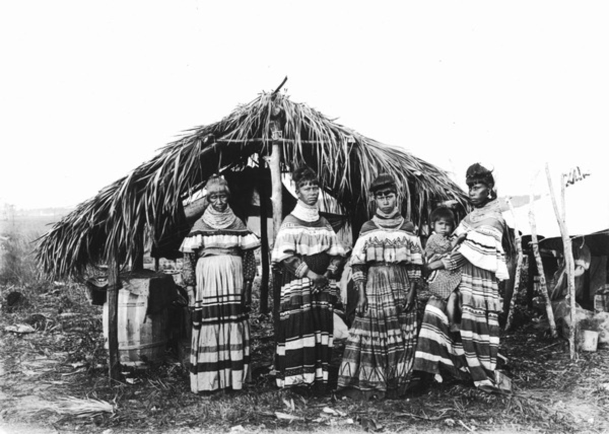 Seminole Family in Cyress, Florida in 1916. Colorful attire has become popular with tourists in purchases from the Seminole peoples.