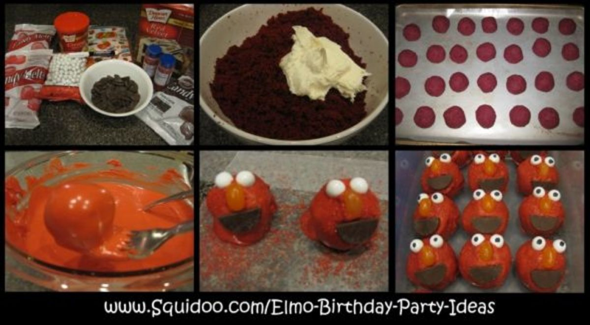 Elmo Cake Balls or Cake Pops