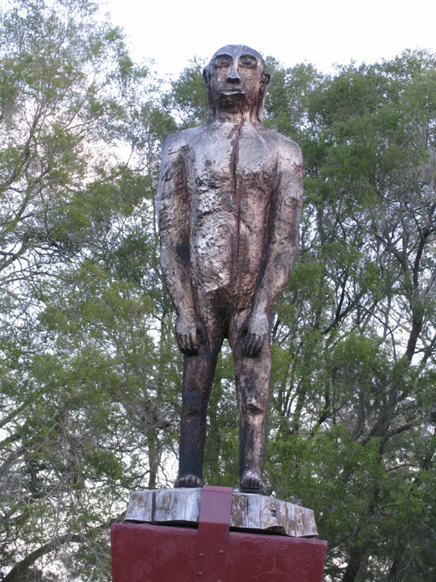 Wooden Yowie statue in Kilcoy, Queensland, Australia.