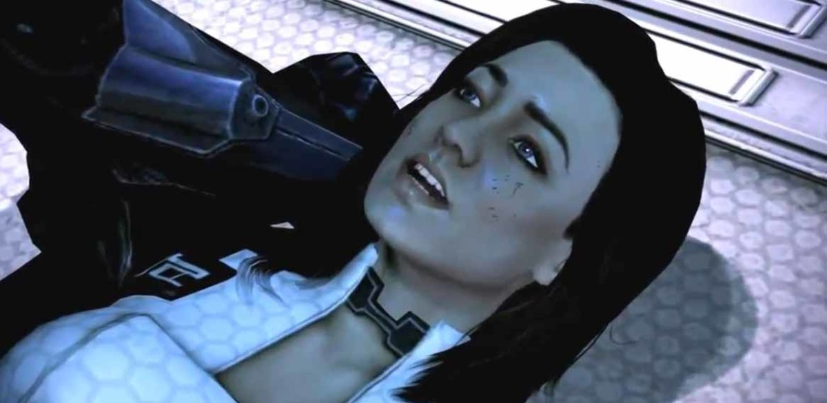 Mass Effect 3 Miranda Lawson in Shepard's arms at the end of the Priority: Horizon Mission