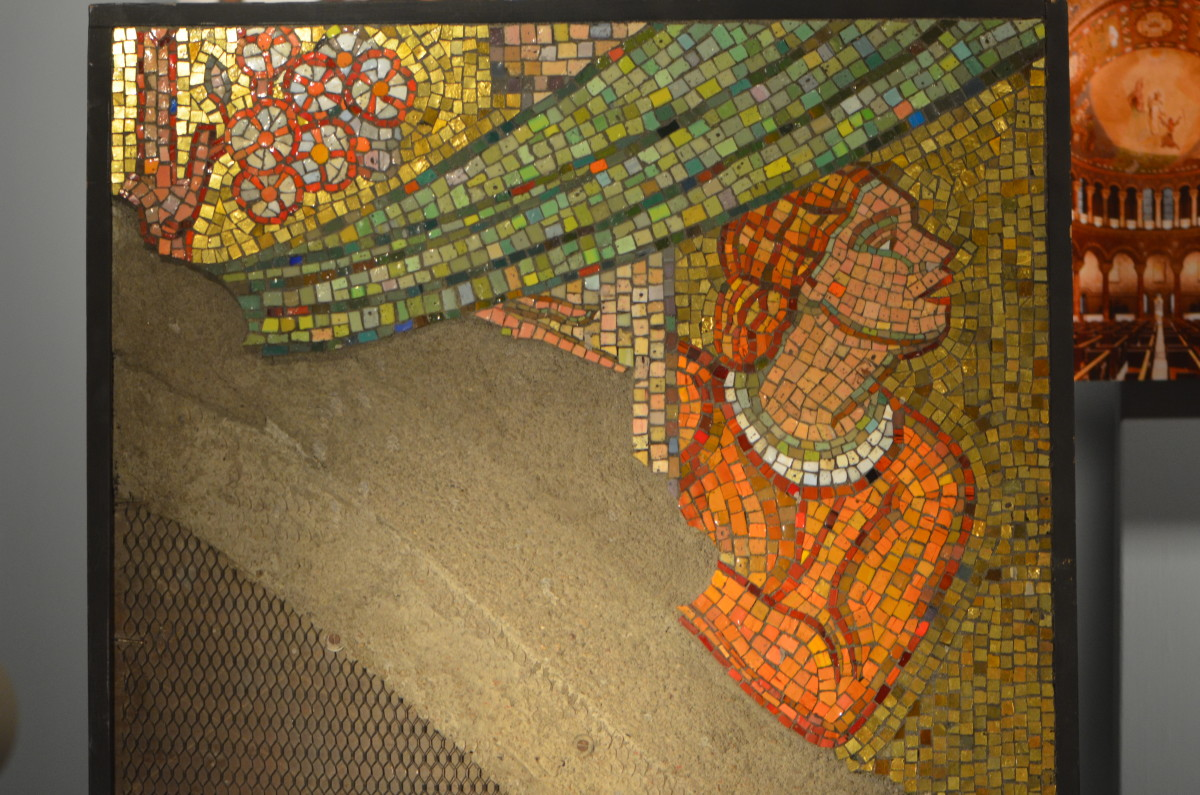 Part of a mosaic in process, in the museum below the basilica.