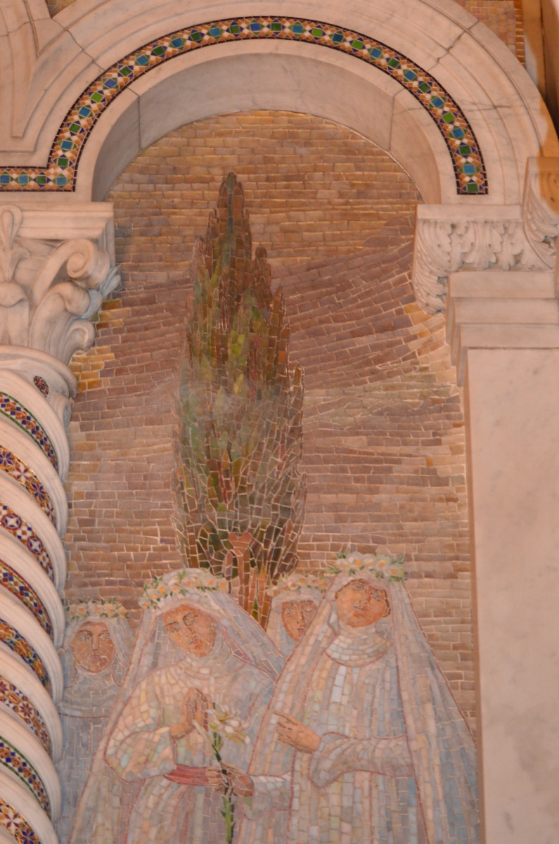 I love this one, with the mosaic in a pillar and above.  I like the tree in the background and the very subdued colors.