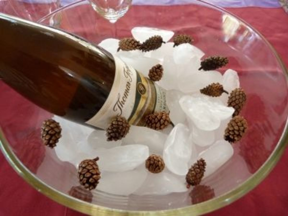 What could be cooler than small pine cones dancing with ice cubes in an ice bucket?