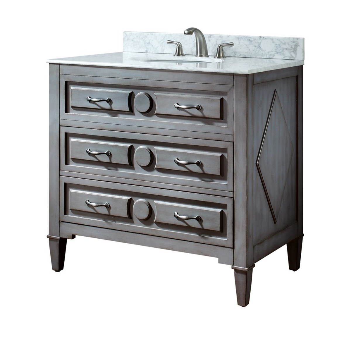 "A grey finsh vanity with ""X"" details is a top decorators pick for giving your bathroom an up-to-date feel."