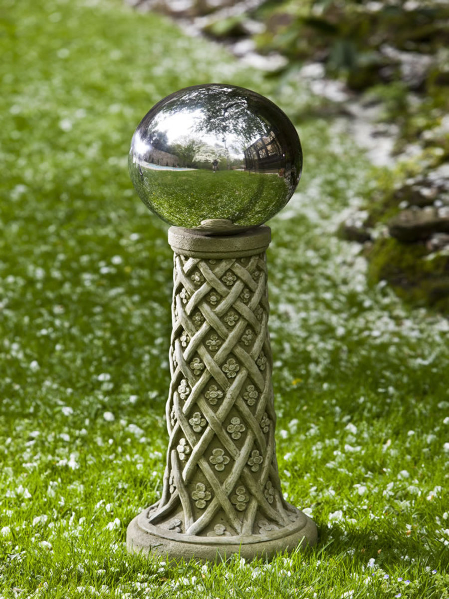 "Daisyweave Globe Holder comes in your choice of hand-applied classic and distinct patinas so each is unique. The stand measures 11"" long, 11"" wide, 22.25"" high, and weighs 60 lbs. Ships UPS."