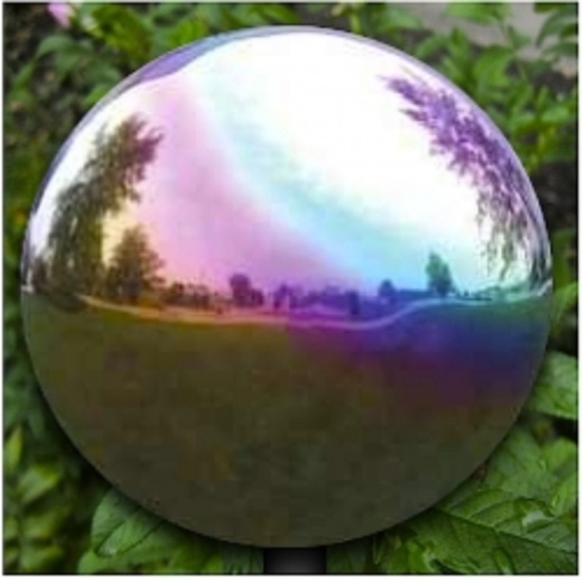 Featured here: 12-Inch Rainbow Stainless Steel Gazing Globe available at Amazon