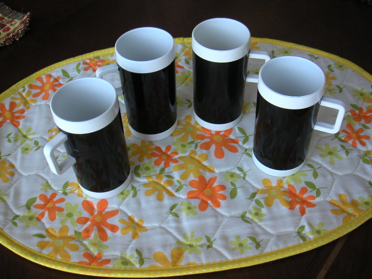 Braniff coffee mugs used for cappuccino after the meal service. It was provided free to adult passengers and contained real Brandy.