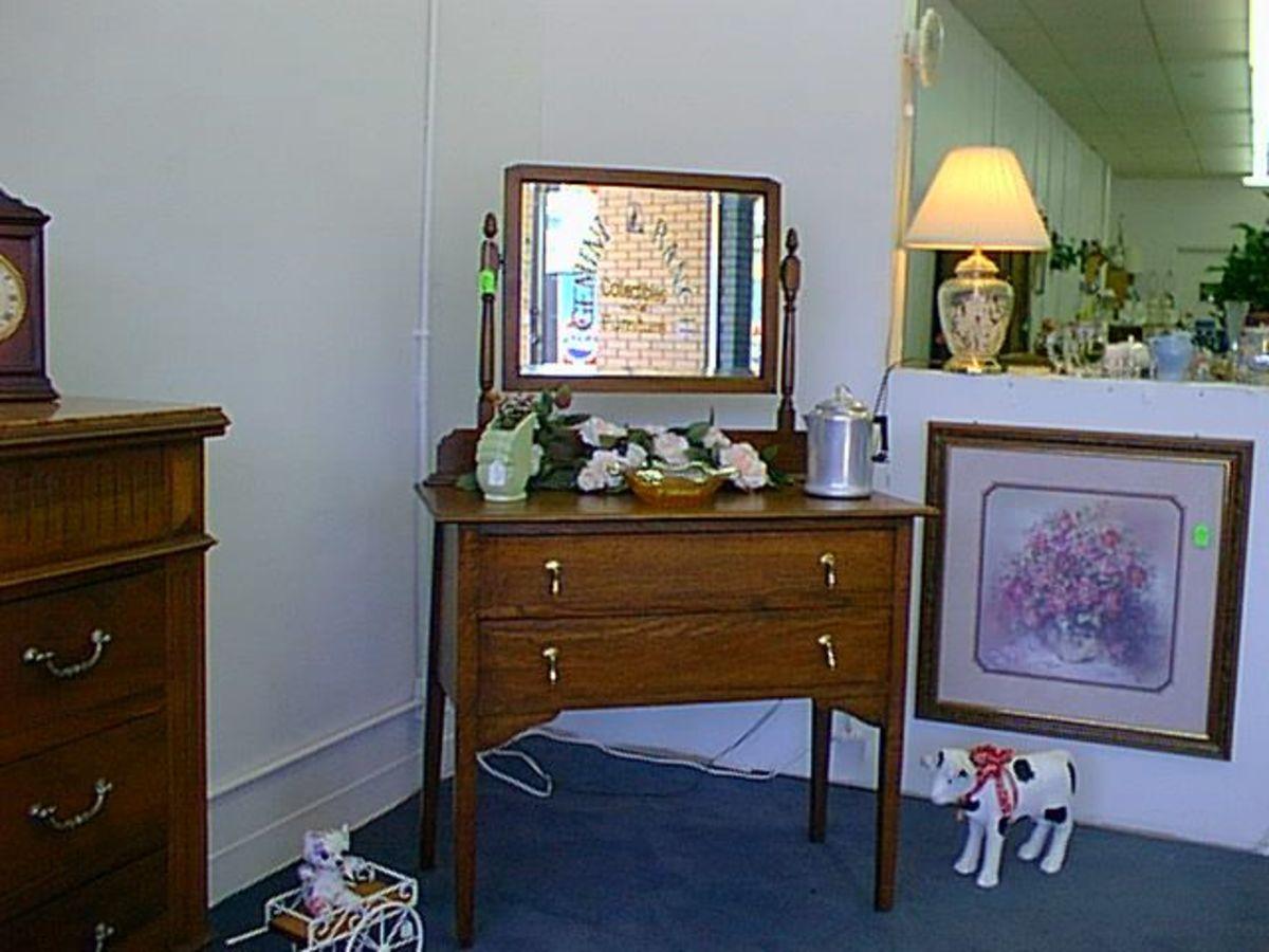 Two-drawer Oak Dresser with Mirror