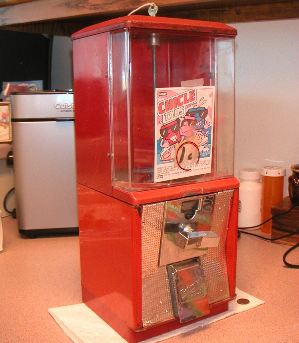 Gumball machines can be refurbished and reused in a family room or man-cave.