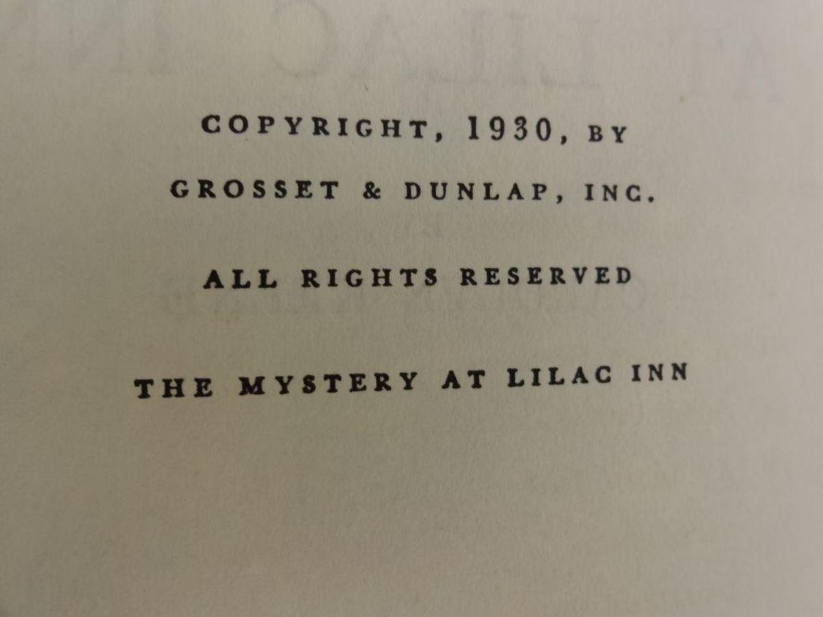 Copyright 1930 Nancy Drew Mystery at Lilac Inn