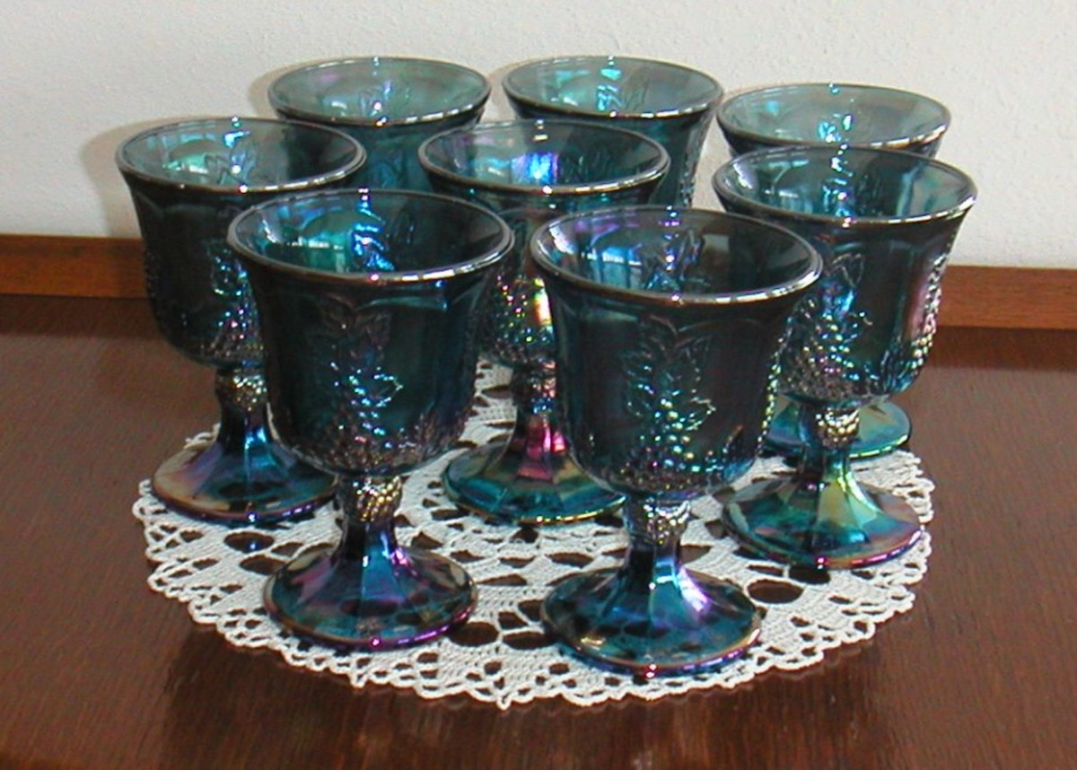 Carnival Glass Goblets from the fifties