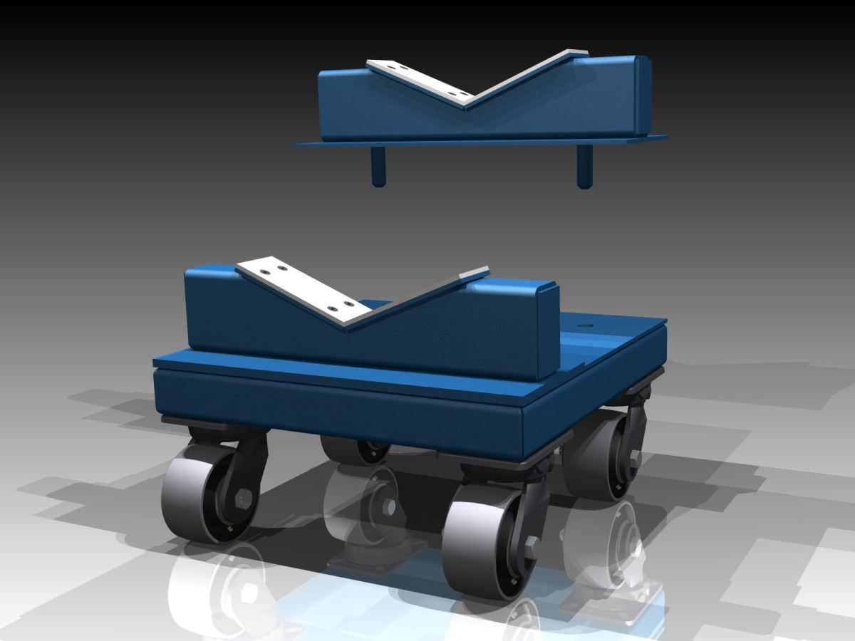 Custom engineered heavy duty cradle dolly with removable uhmw lined v cradles to accommodate various diameter rolls.
