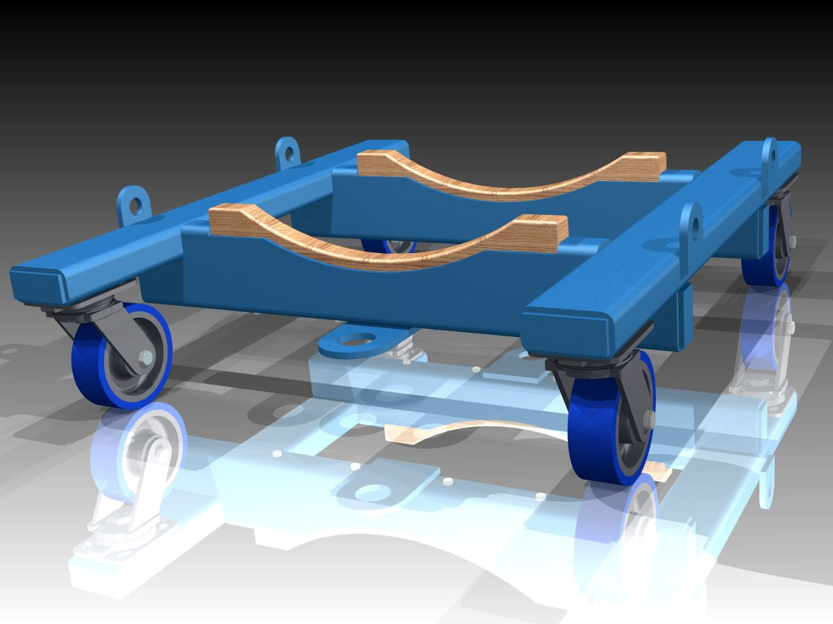Special Engineered to Order Cradle Dolly euipped with tie down lugs and soft poly wheels in forged steel rigs.