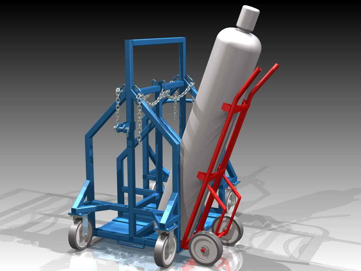 Compressed Gas Cylinder Dolly, complete with special hand truck to facilitate loading and unloading of product.