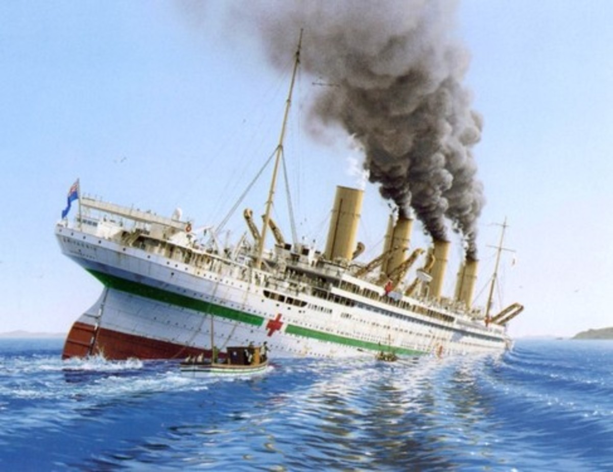 The sinking of the HMHS Britannic after hitting a mine.