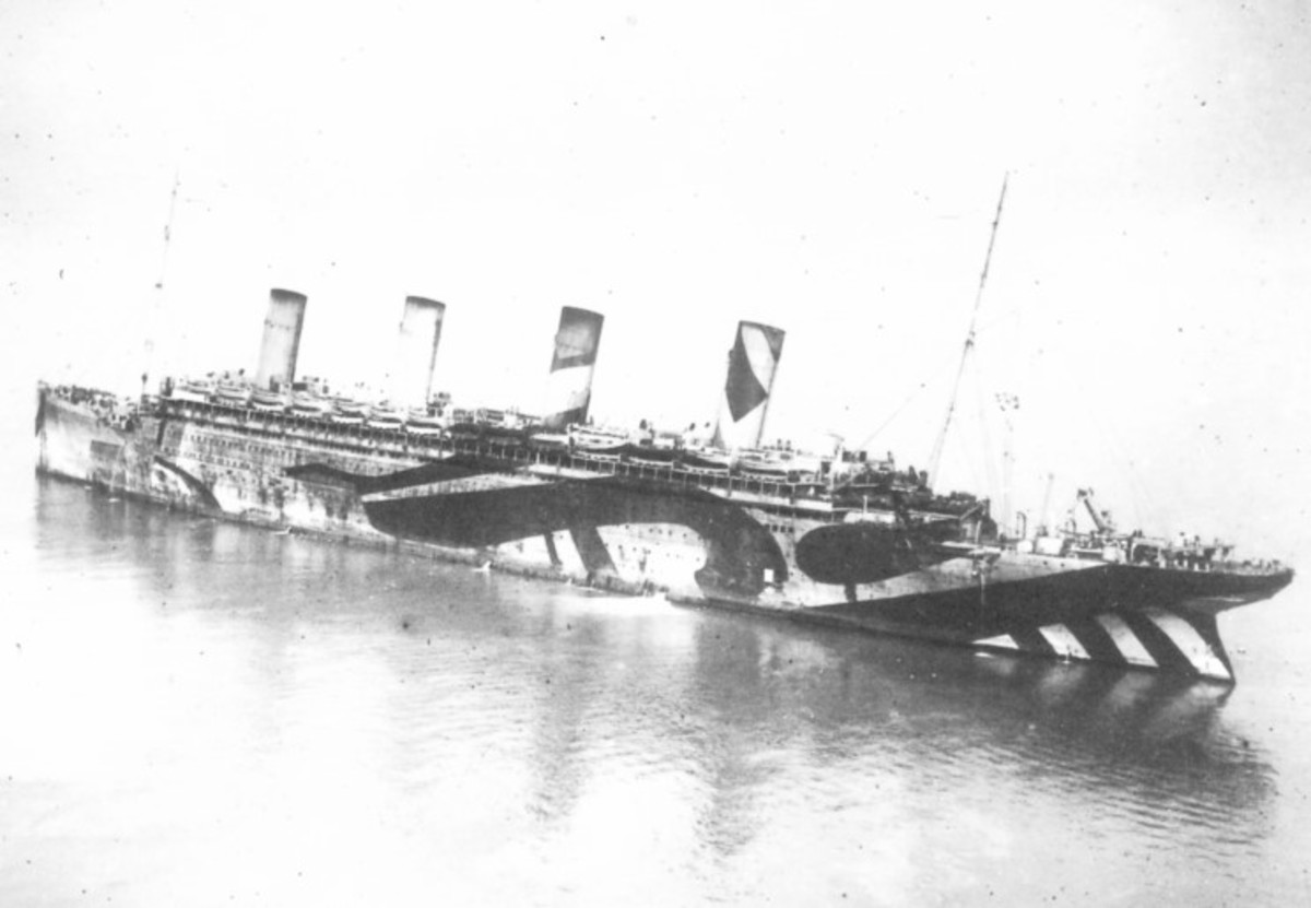 Olympic during WWI as a troop carrier. Note the 'dazzle' paint. Titanic would have regaled a similar design.