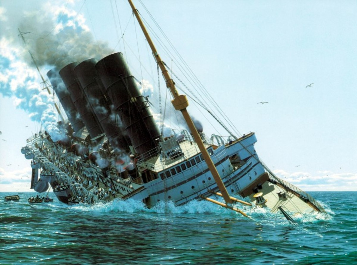 Sinking of the Lusitania.