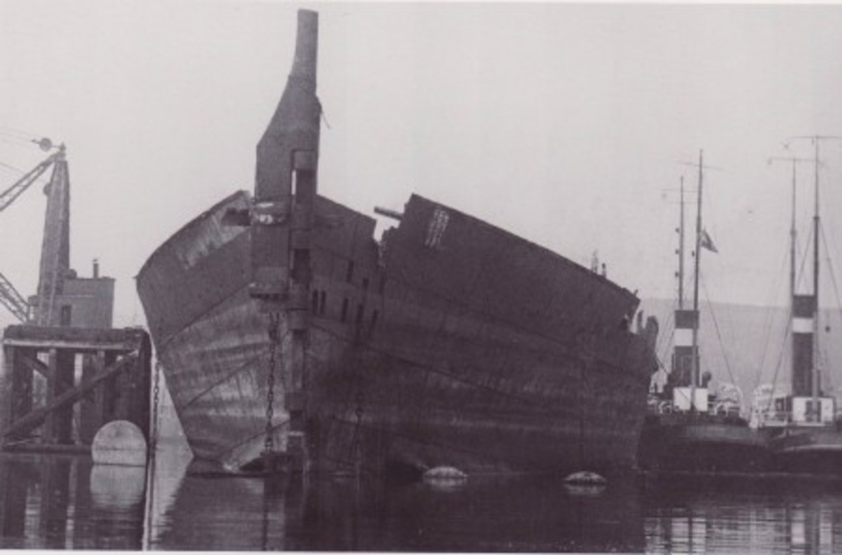 Olympic's partially scrapped hull.