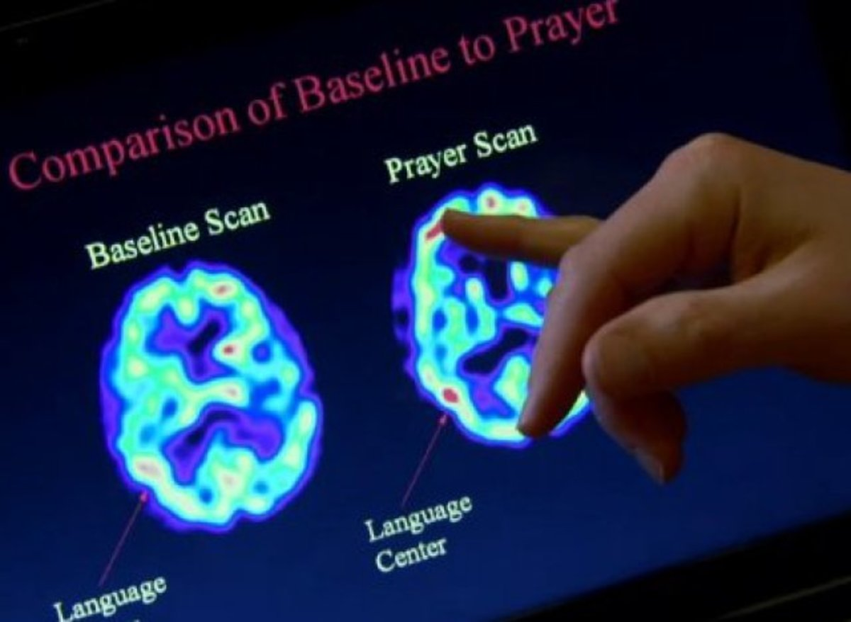 Scan on left is not contemplating God while scan on right is in prayer.  Red areas show activity in language center of brain.