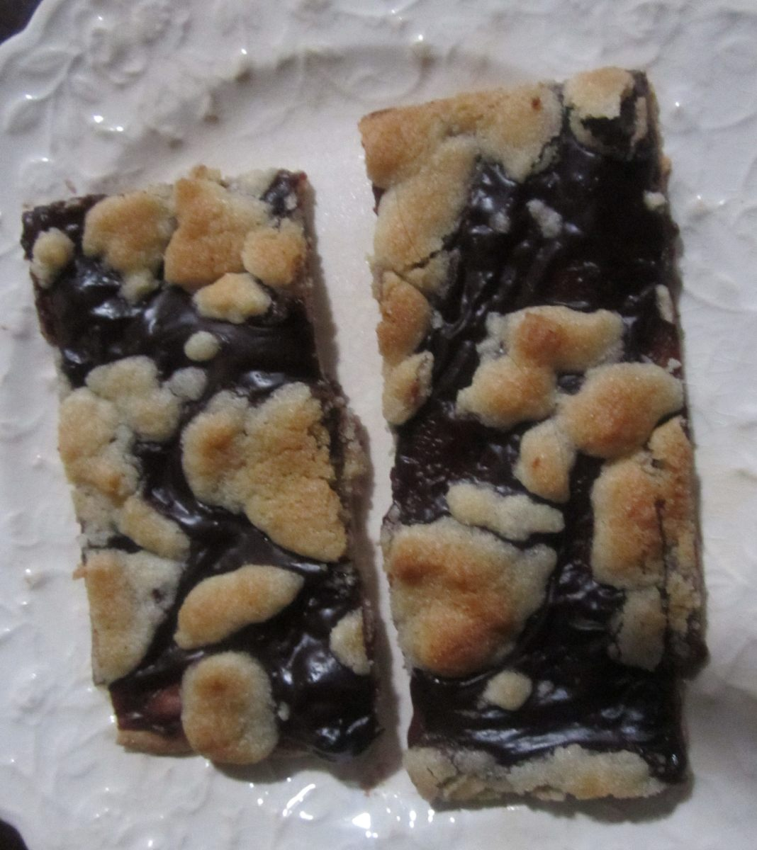 Pieces of chocolate pizza