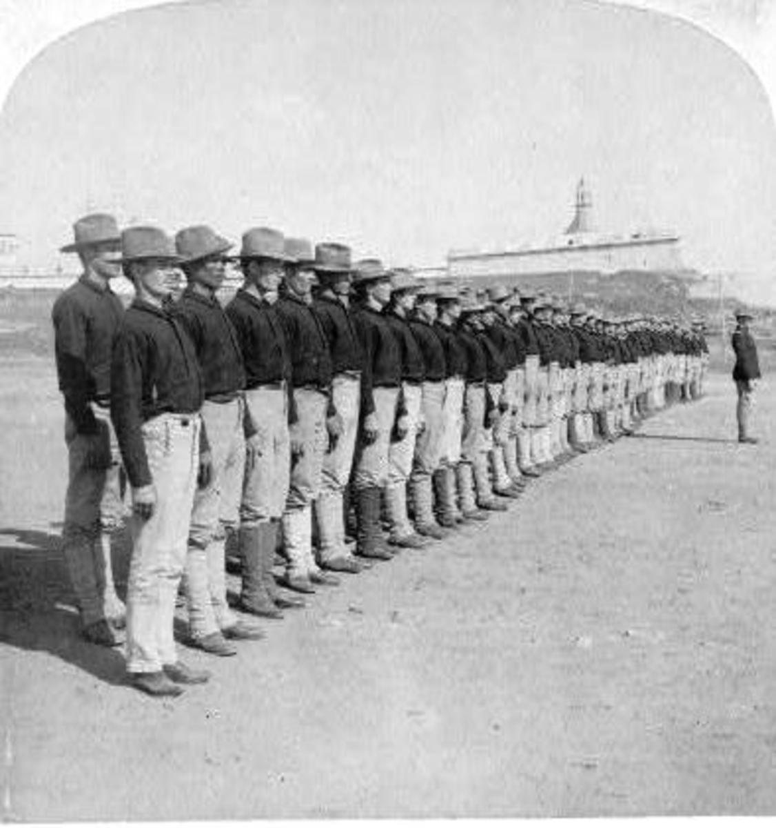 Early picture of the first Puerto Rican soldiers to serve in the US ARMY in 1899.