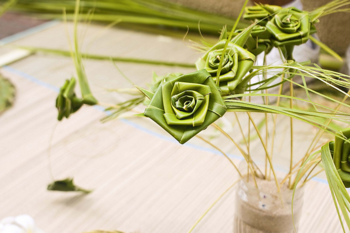 Beautiful roses made from the leaves of coconut.