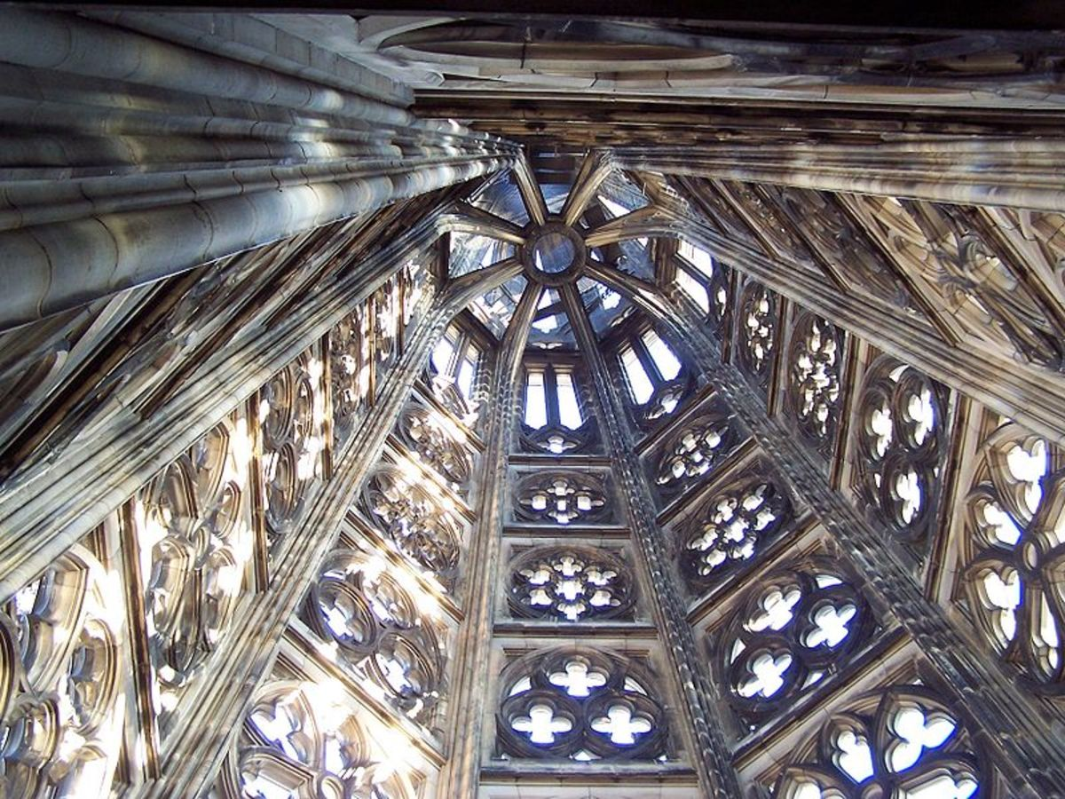 Inside a cathedral spire.