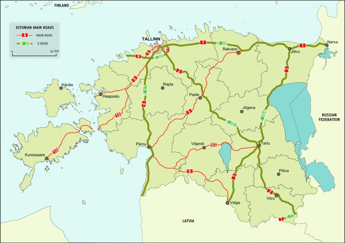 Main highways of Estonia. No place in Estonia is further than 60 km (i.e. within charging distance) from an EV charging system. Estonia is the first in the world with country-wide EV charging coverage.
