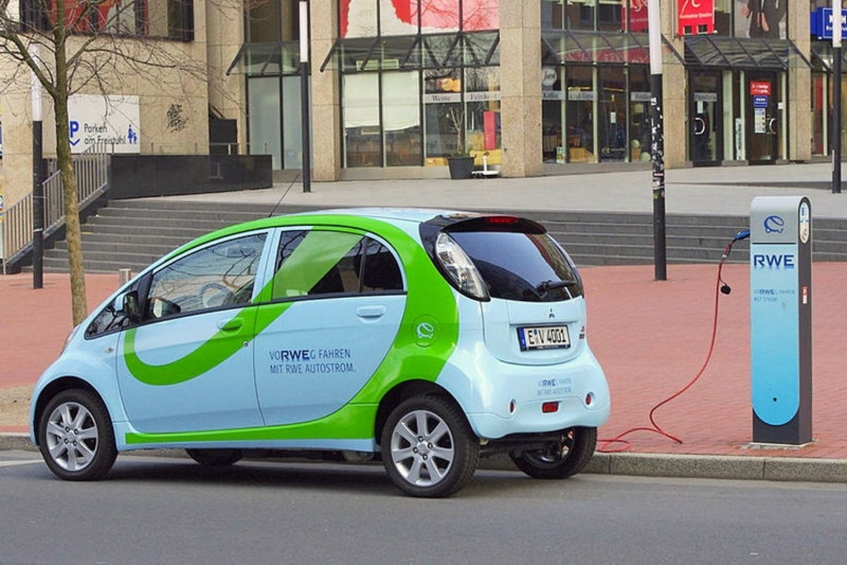 Mitsubishi i-MiEV electric car charging.