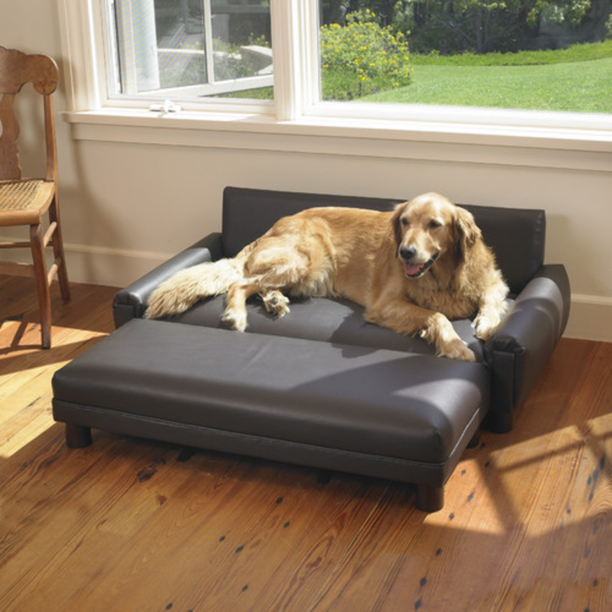 Mission Hills Faux Leather Dog Sofa with Ottoman