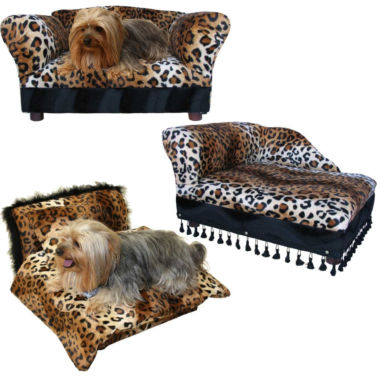 Pet Sofa Chaise and Bed Combo in Leopard Print
